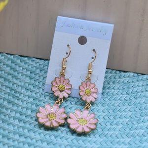 Pink Flower Dangle Earrings